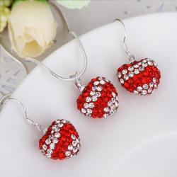 Vienna Jewelry Austrian Crystal Element Multi-Pave Heart Drop Earring and Necklace Set-Red Crystal