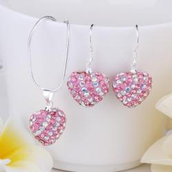 Vienna Jewelry Austrian Crystal Element Multi-Pave Heart Drop Earring and Necklace Set- Cotton Candy