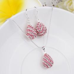 Vienna Jewelry Austrian Crystal Element Multi-Pave Pear Earring and Necklace Set- Cotton Candy