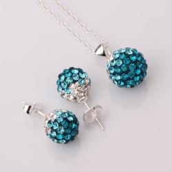 Vienna Jewelry Austrian Crystal Element Multi-Pave Earring Studs and Necklace Set-Turquoise Crystal
