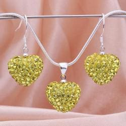 Vienna Jewelry Austrian Crystal Element Solid-Pave Heart Earring and Necklace Set-Yellow Crystal