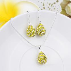 Vienna Jewelry Austrian Crystal Element Multi-Pave Pear Earring and Necklace Set-Yellow Sunshine
