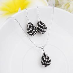 Vienna Jewelry Austrian Crystal Element Multi-Pave Pear Earring and Necklace Set- Black and White - Thumbnail 0