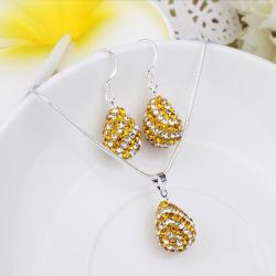Vienna Jewelry Austrian Crystal Element Multi-Pave Pear Earring and Necklace Set-Gold - Thumbnail 0