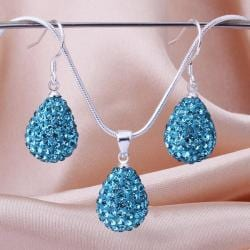 Vienna Jewelry Austrian Crystal Element Solid-Pave Pear Earring and Necklace Set-Teal Blue Crystal