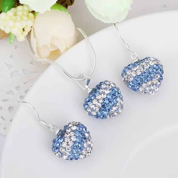 Vienna Jewelry Austrian Crystal Element Multi-Pave Heart Drop Earring and Necklace Set- Baby Blue Stripe