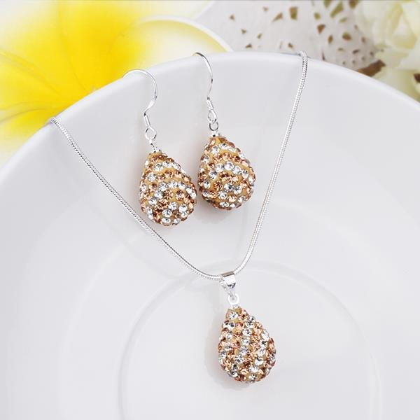 Vienna Jewelry Austrian Crystal Element Multi-Pave Pear Earring and Necklace Set-Cappuccino