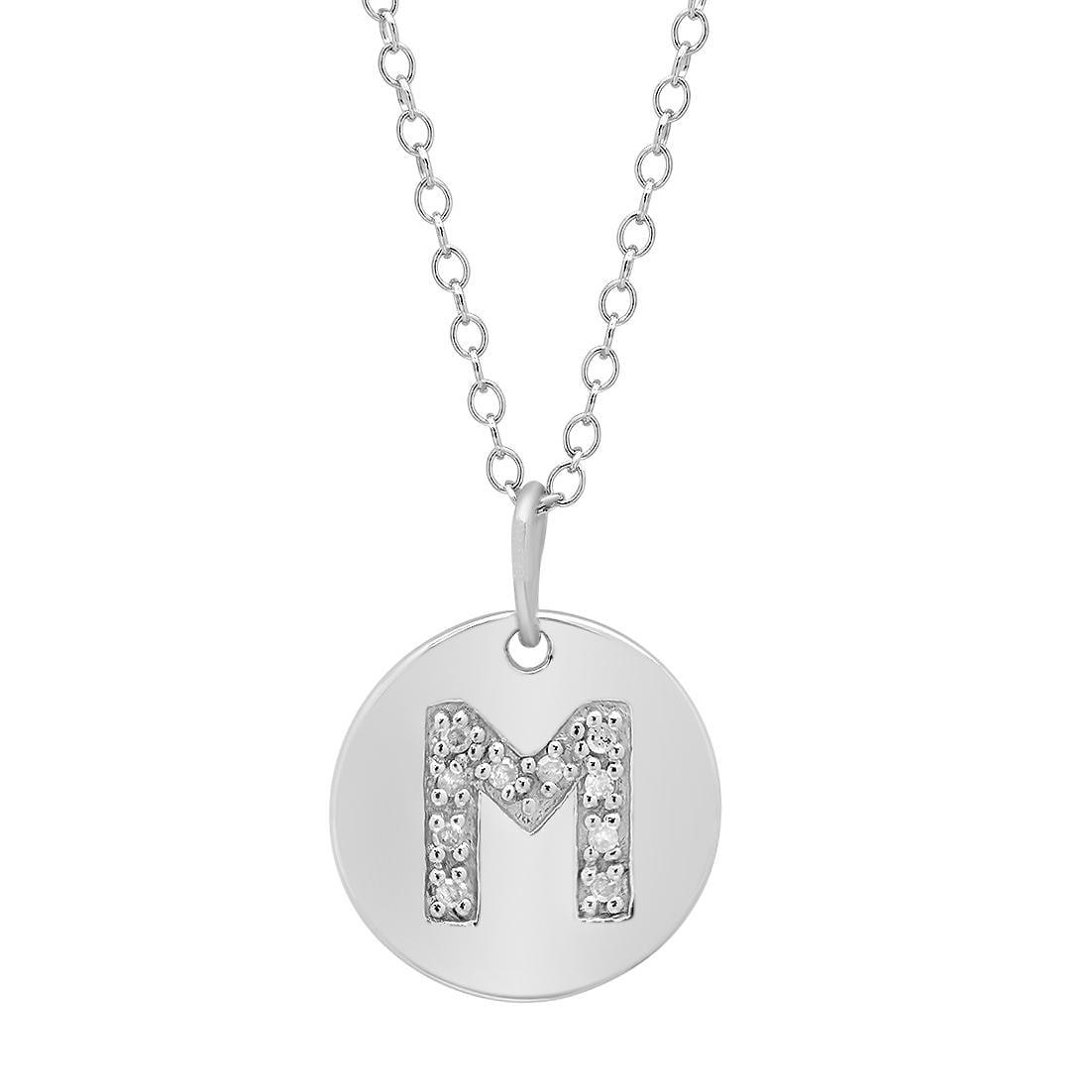 Amanda Rose Sterling Silver Diamond Intitial Disc Pendant-Necklace Letter M
