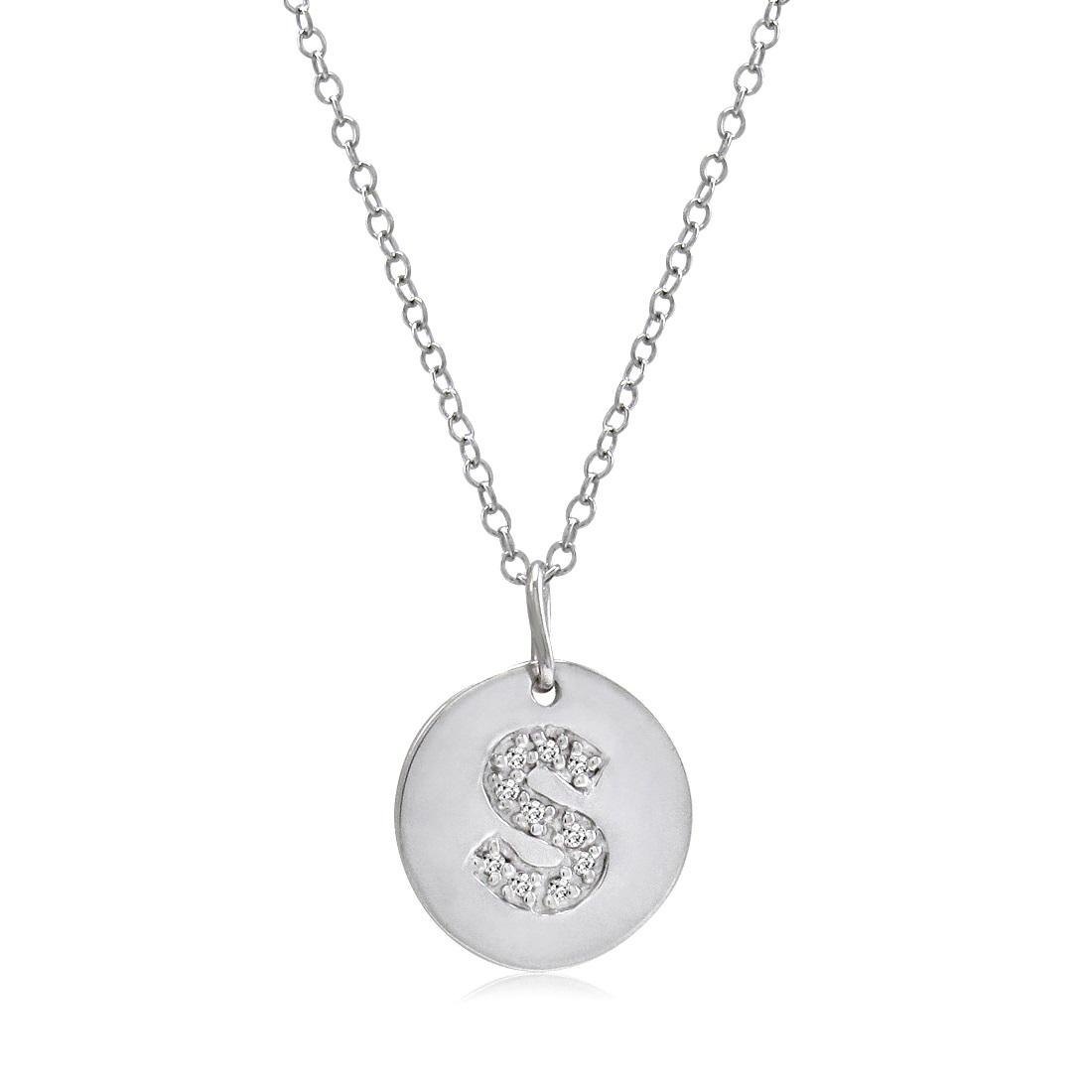 Amanda Rose Sterling Silver Diamond Intitial Disc Pendant-Necklace Letter S