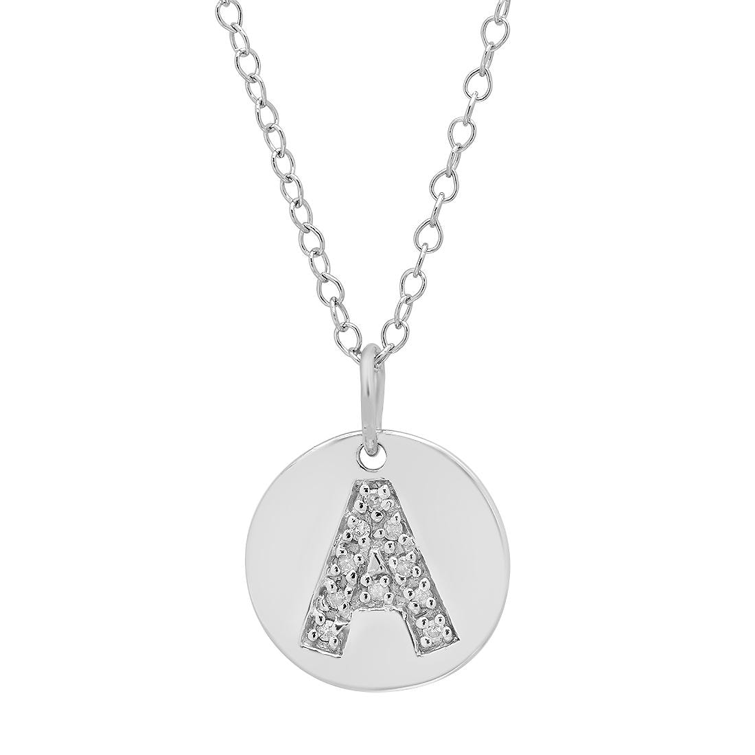 Amanda Rose Sterling Silver Diamond Intitial Disc Pendant-Necklace Letter A