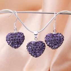 Vienna Jewelry Austrian Crystal Element Solid-Pave Heart Earring and Necklace Set-Amethyst Crystal