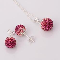 Vienna Jewelry Austrian Crystal Element Multi-Pave Earring Studs and Necklace Set-Bubble Gum Crystal
