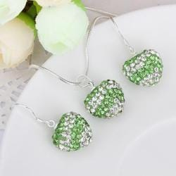 Vienna Jewelry Austrian Crystal Element Multi-Pave Heart Drop Earring and Necklace Set-Green Crystal