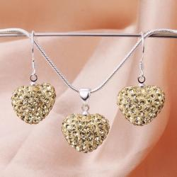Vienna Jewelry Austrian Crystal Element Solid-Pave Heart Earring and Necklace Set-Golden Crystal