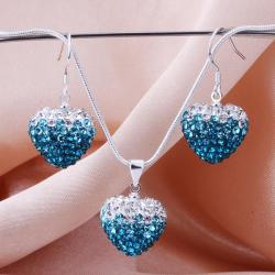 Vienna Jewelry Austrian Crystal Element Multi-Pave Heart Earring and Necklace Set-Turquoise Fusion