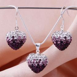 Vienna Jewelry Austrian Crystal Element Multi-Pave Heart Earring and Necklace Set-Purple Twist
