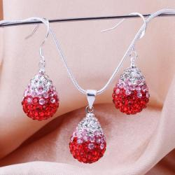 Vienna Jewelry Austrian Crystal Element Multi-Pave Earring and Necklace Set-Strawberry - Thumbnail 0