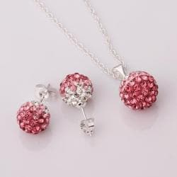 Vienna Jewelry Austrian Crystal Element Multi-Pave Earring Studs and Necklace Set-Pink Crystal