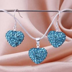 Vienna Jewelry Austrian Crystal Element Solid-Pave Heart Earring and Necklace Set-Solid Teal Blue
