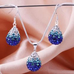Vienna Jewelry Austrian Crystal Element Multi-Pave Earring and Necklace Set-Blue - Thumbnail 0