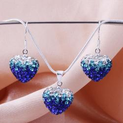 Vienna Jewelry Austrian Crystal Element Multi-Pave Heart Earring and Necklace Set- Blue Fusion