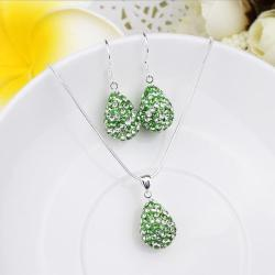 Vienna Jewelry Austrian Crystal Element Multi-Pave Pear Earring and Necklace Set-Green