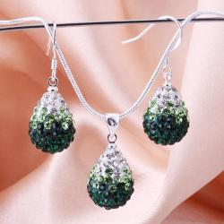 Vienna Jewelry Austrian Crystal Element Multi-Pave Earring and Necklace Set-Emerald - Thumbnail 0