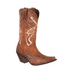 Women's Durango Boot DRD0099 12in Crush Crossed Revolvers Boot Tan Leather