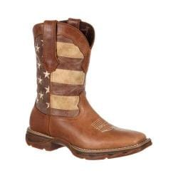 Women's Durango Boot DRD0107 10in Lady Rebel Faded Glory Flag Boot Brown/Patriotic Leather