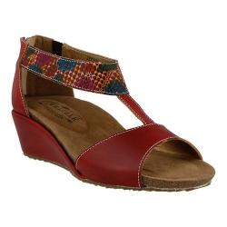Women's L'Artiste by Spring Step Breckel T Strap Sandal Red Multi Leather