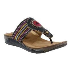 Women's L'Artiste by Spring Step Chuckles Thong Sandal Black Leather