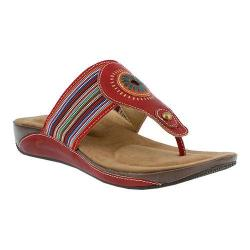 Women's L'Artiste by Spring Step Chuckles Thong Sandal Red Leather