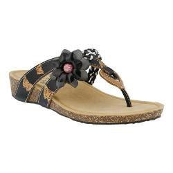 Women's L'Artiste by Spring Step Chunali Thong Sandal Black Multi Leather
