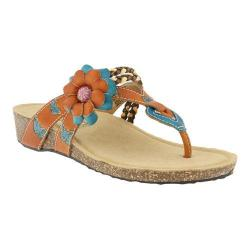 Women's L'Artiste by Spring Step Chunali Thong Sandal Camel Multi Leather