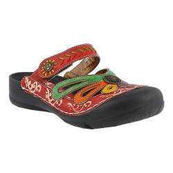 Women's L'Artiste by Spring Step Copa Clog Red Multi Leather