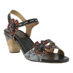 Women's L'Artiste by Spring Step Guiditta Quarter Strap Sandal Black Multi Leather