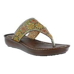 Women's L'Artiste by Spring Step Jobe Thong Sandal Teal Multi Leather