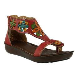 Women's L'Artiste by Spring Step Kloof T Strap Sandal Red Multi Leather
