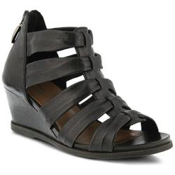 Women's Spring Step Raziya Strappy Sandal Black Leather