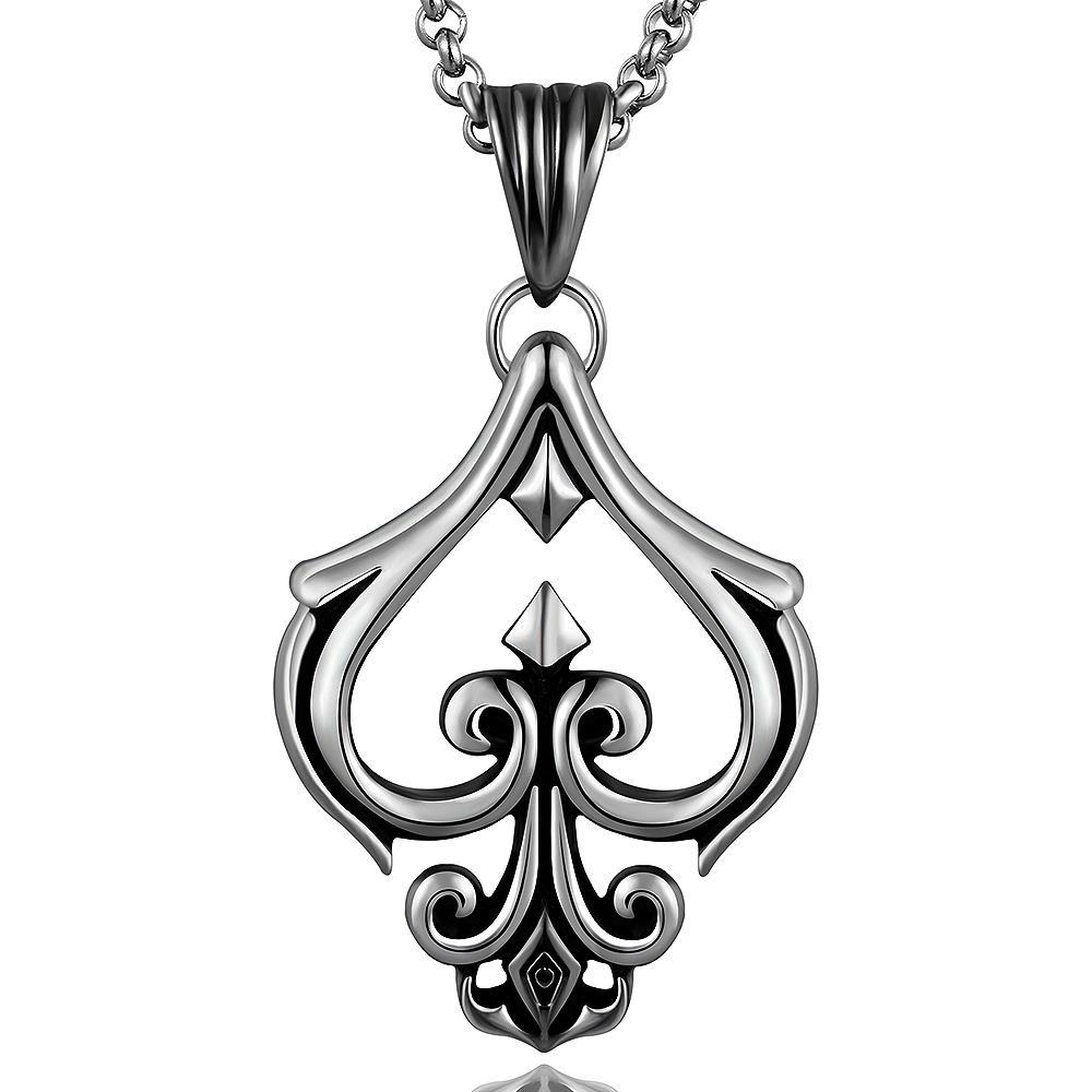 Vienna Jewelry Hollow Spade Emlem Stainless Steel Necklace