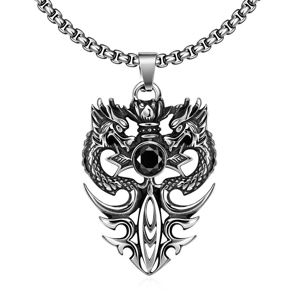 Vienna Jewelry Double Dragon Emblem Stainless Steel Necklace