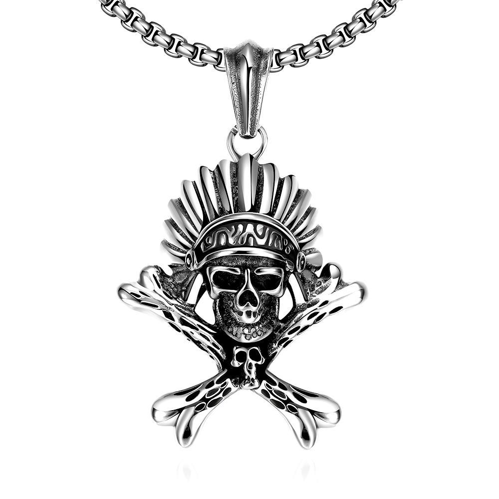 Vienna Jewelry Chief Skull Emblem Stainless Steel Necklace