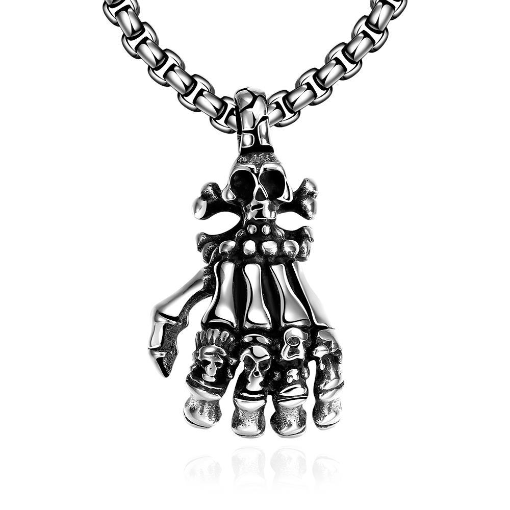 Vienna Jewelry Five Fingers Stainless Steel Emblem Necklace