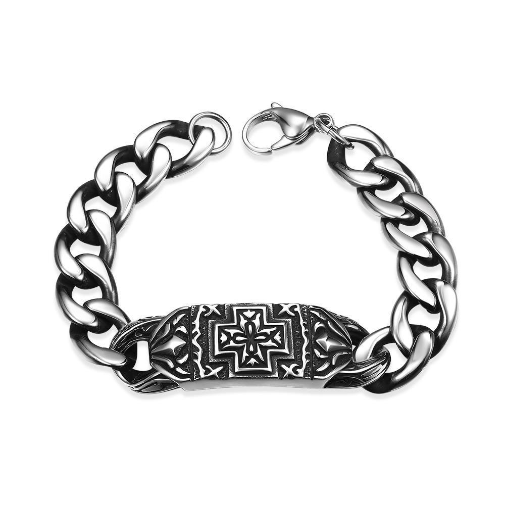 Vienna Jewelry Greek Inspired Emblem Stainless Steel Bracelet