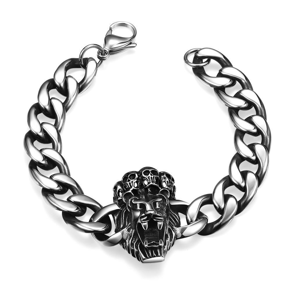 Vienna Jewelry Lion Heart Emblem Stainless Steel Bracelet