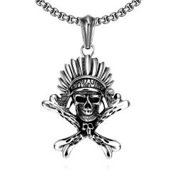 Vienna Jewelry Chief Skull Emblem Stainless Steel Necklace - Thumbnail 0