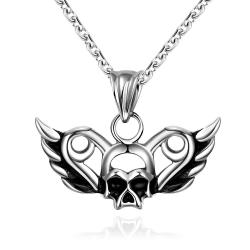 Vienna Jewelry Flying Skull Emblem Stainless Steel Necklace
