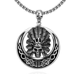Vienna Jewelry Chief Circular Emblem Stainless Steel Necklace