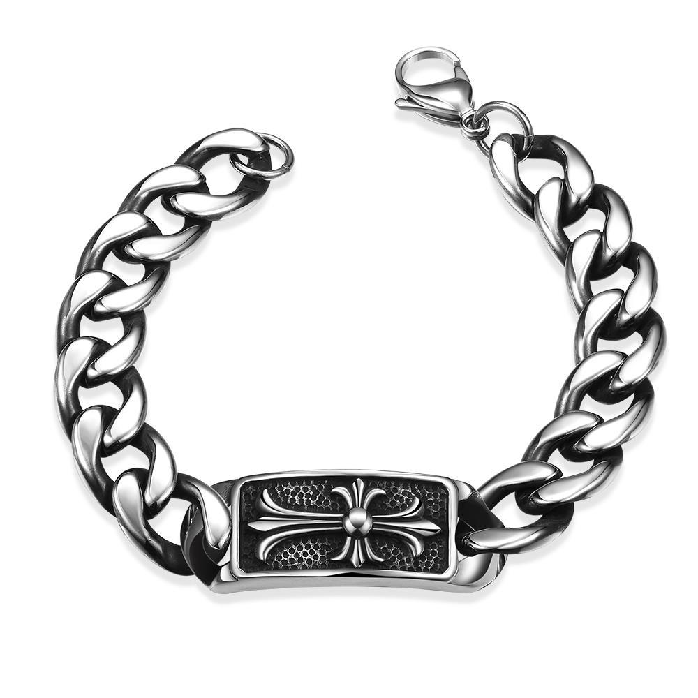 Vienna Jewelry Abstract Emblem Stainless Steel Bracelet