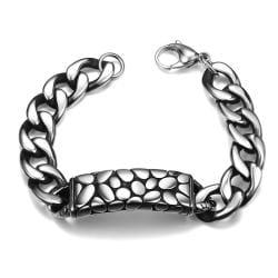 Vienna Jewelry Animal Skin Emblem Stainless Steel Bracelet